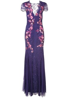 Marchesa plunge back floral dress