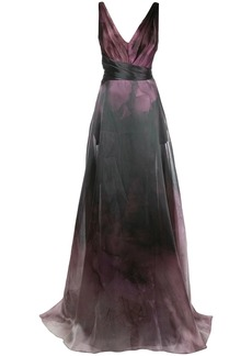 Marchesa printed flared gown