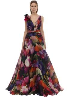 Marchesa Printed Silk Organza Dress