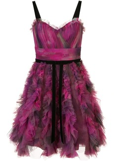 Marchesa printed textured cocktail dress