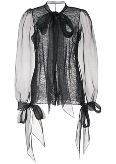 Marchesa pussy-bow lace blouse