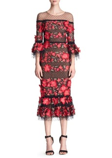 Marchesa Quarter-Sleeve Floral Embroidered Cocktail Dress