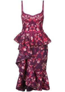 Marchesa ruffle floral midi dress