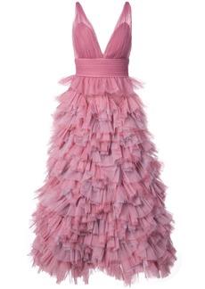 Marchesa ruffled A-line gown