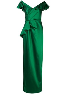 Marchesa ruffled fitted long dress
