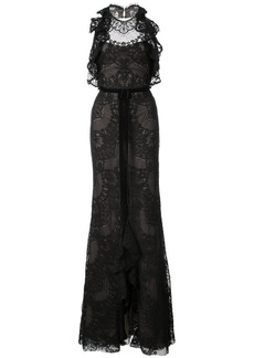 Marchesa ruffled guipure lace gown