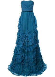 Marchesa ruffled strapless dress