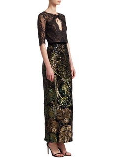 Marchesa Sequin and Lace Gown