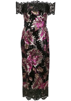 Marchesa sequin embellished fitted dress