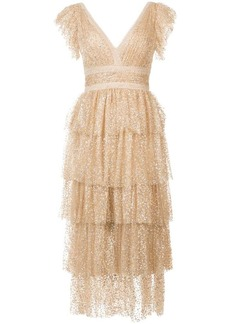 Marchesa sequin-embellished tiered ruffled dress