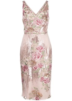 Marchesa sequin embroidered fitted dress