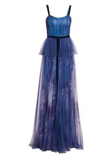 Marchesa Sequin Peplum Waist Gown
