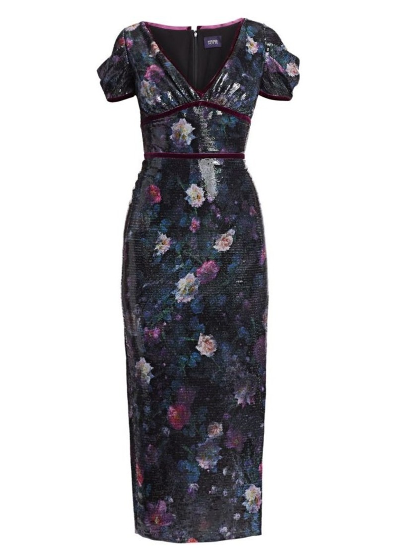 Marchesa Sequin Print Floral Sheath Dress