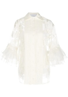 Marchesa sheer floral pattern blouse