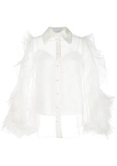Marchesa sheer ruffle sleeve blouse