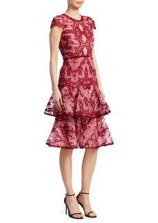 Marchesa Short-Sleeve Lace Tiered Cocktail Dress