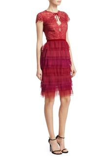 Marchesa Short-Sleeve Pleated Lace Cocktail Dress