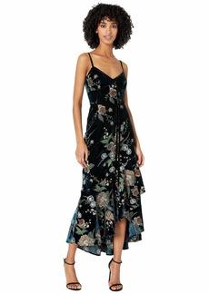 Marchesa Sleeveless Embroidered Velvet Hi-Lo Cocktail Dress w/ Cascading Asymmetrical Hem