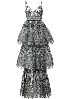Marchesa sleeveless eyelet organza gown