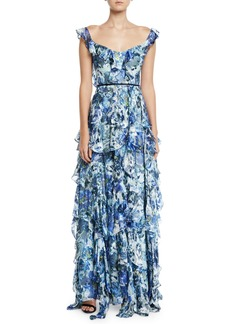 Marchesa Sleeveless Floral-Print Burnout Cascading Ruffle Gown