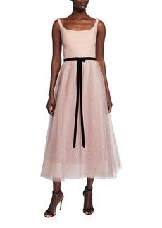 Marchesa Sleeveless Glitter Tulle Tea Length Dress
