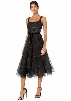 Marchesa Sleeveless Glitter Tulle Tea-Length Gown w/ Velvet Ribbon Waist Trim