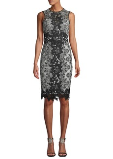 Marchesa Sleeveless Lace Colorblock Dress