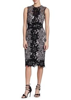 Marchesa Sleeveless Lace Sheath Dress