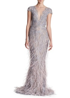 Marchesa Sleeveless Plunging Fully Beaded & Ostrich Feather Evening Gown