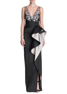 Marchesa Mikado Embellished Ruffle Gown