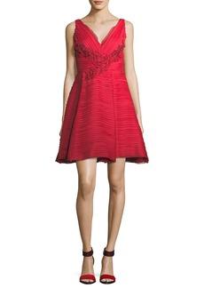 Marchesa Sleeveless V-Neck Crinkled Chiffon Cocktail Dress