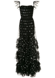 Marchesa spotted sequin embroidered ruffle gown
