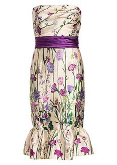 Marchesa Stapless Floral Cocktail Dress