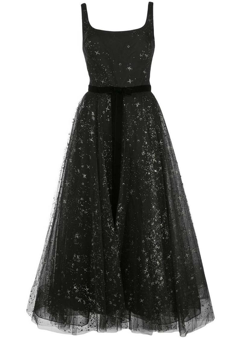 Marchesa star glitter tulle tea length dress