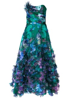 Marchesa strapless 3D floral embroidered dress