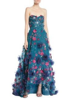 Marchesa Strapless Ball Gown w/ 3D Petals