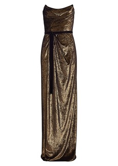 Marchesa Strapless Goldtone Draped Gown