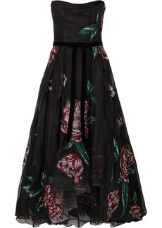 Marchesa Strapless Velvet-trimmed Embroidered Organza Gown