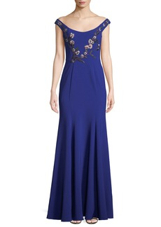 Marchesa Stretch Crepe Off-the-Shoulder Gown