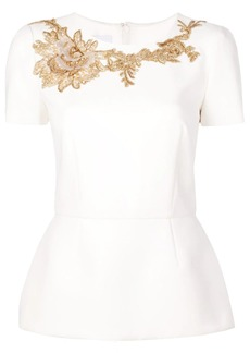 Marchesa structured embroidered blouse