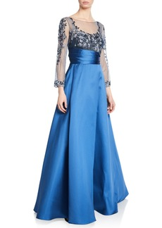 Marchesa Sweetheart Illusion Mikado Ball Gown w/ 3D Floral-Embroidered Bodice