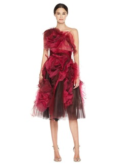 Marchesa Tea Length A line Fishnet and cocktail Textured Flowers