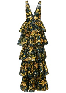 Marchesa tiered floral gown