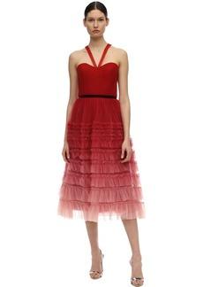Marchesa Tiered Gradient Tulle Midi Dress