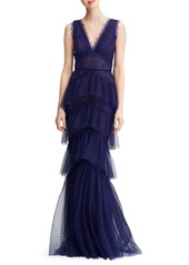 Marchesa Tiered Lace Gown
