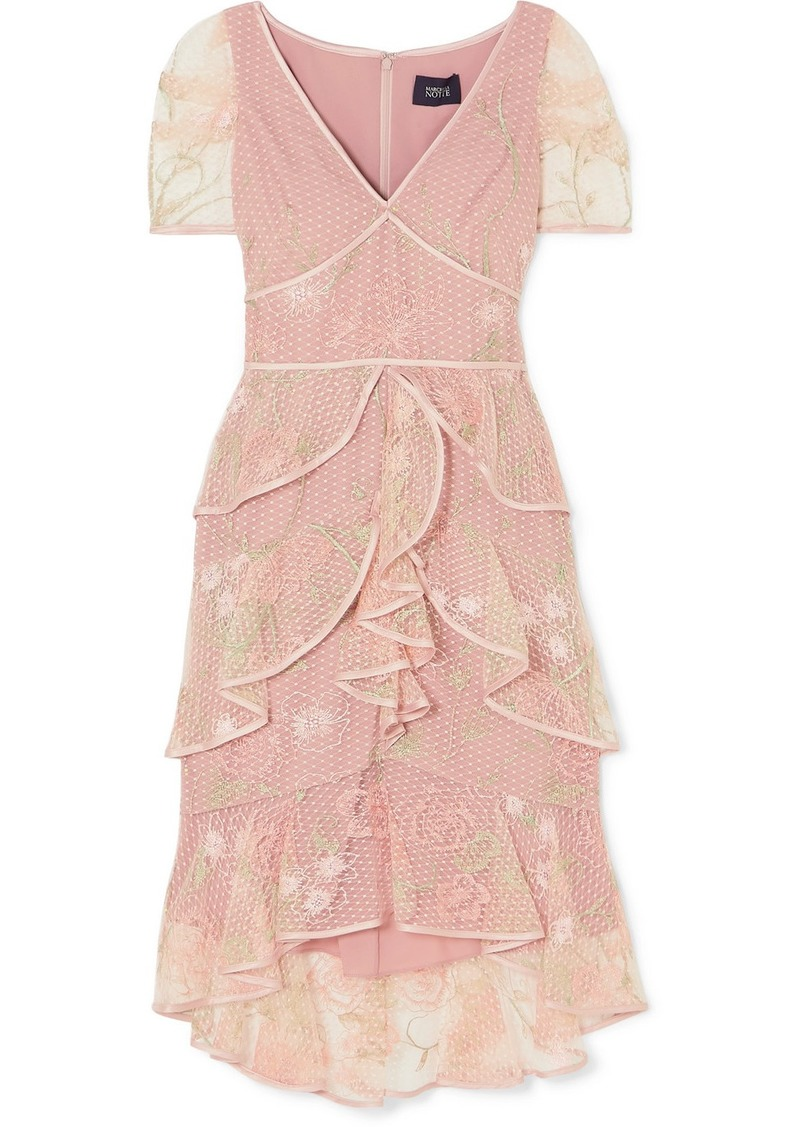 Marchesa Tiered Satin-trimmed Embroidered Tulle Dress