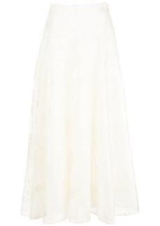 Marchesa tonal floral print maxi skirt