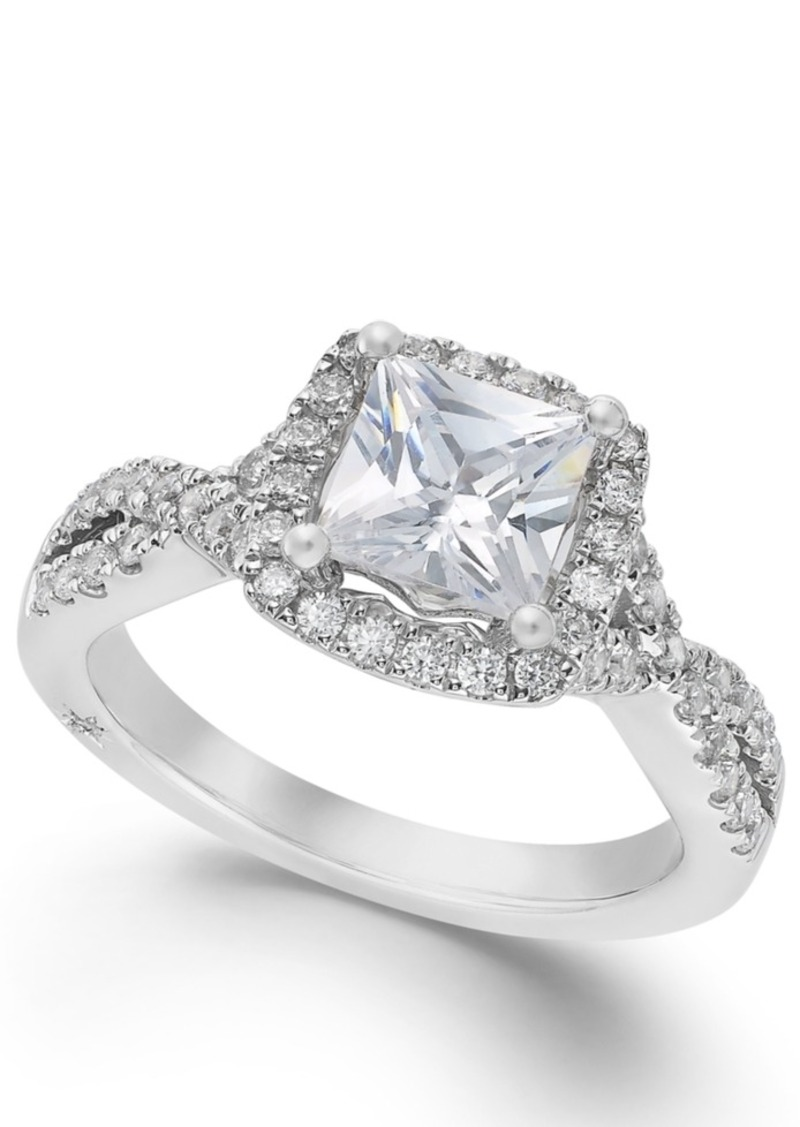 99fa90a15 Twist Halo by Certified Princess Cut Diamond Engagement Ring in 18k White  Gold (1-1/3 ct. t.w.), Created for Macy's