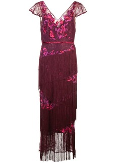 Marchesa V-neck fringed dress