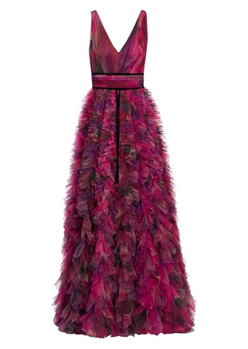 Marchesa V-Neck Printed Textured Tulle Gown